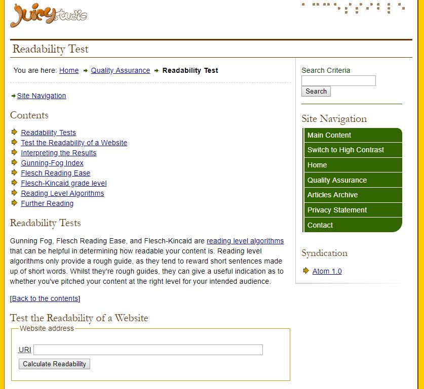 juicystudio-readibility-test